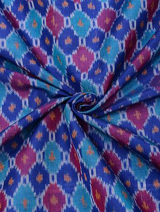 Blue Handloom Cotton Silk Ikat Fabric