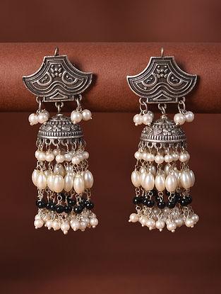 White Silver Tone Tribal Jhumki Earrings With Pearls