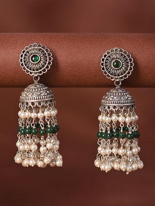 Green White Silver Tone Tribal Jhumki Earrings With Pearls
