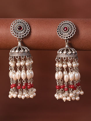 Red White Silver Tone Tribal Jhumki Earrings With Pearls