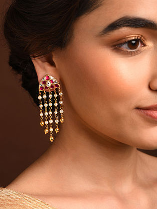 Pink White Gold Tone Silver Earrings with Kundan and Kempstone