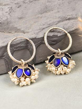 Blue White Silver Jhumki Earrings with Kempstone