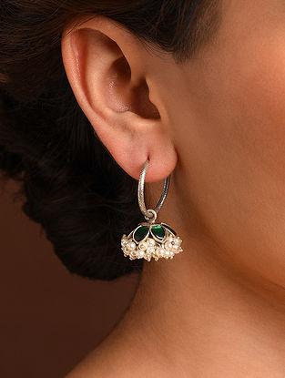 Green White Silver Jhumki Earrings with Kempstone