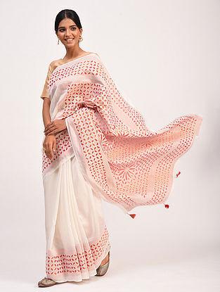 Ivory-Pink Handwoven Chanderi Saree with Applique Work