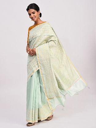 Green Handwoven Chanderi Saree with Applique Work