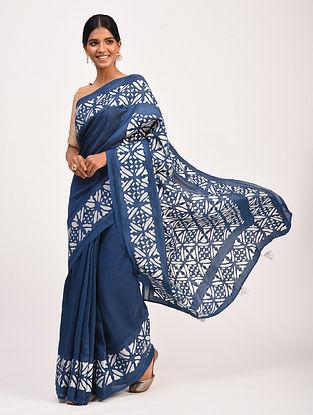 Blue Handwoven Chanderi Saree with Applique Work