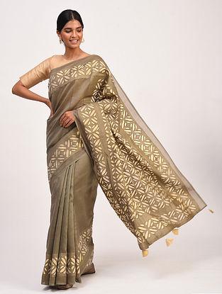 Brown Handwoven Chanderi Saree with Applique Work