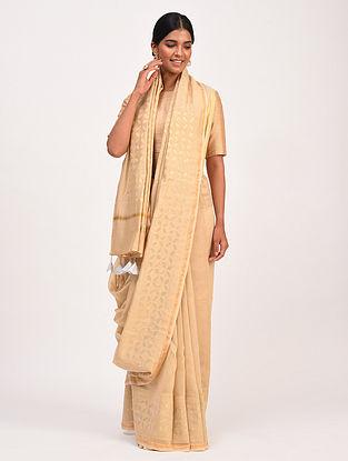 Beige Handwoven Chanderi Saree with Applique Work