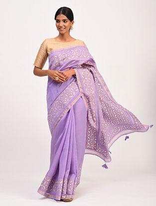Lavender Handwoven Chanderi Saree with Applique Work