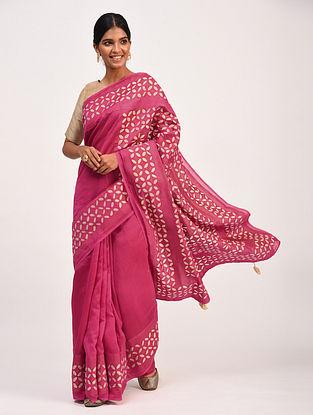 Pink Handwoven Chanderi Saree with Applique Work
