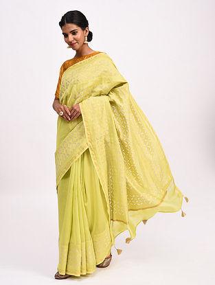Yellow Handwoven Chanderi Saree with Applique Work