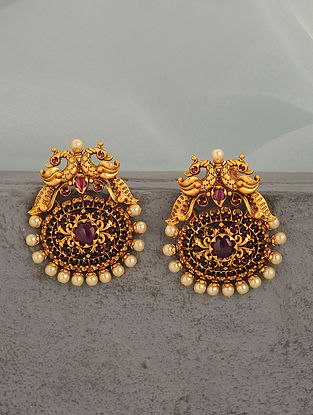 Pink Gold Tone Temple Earrings With Pearls