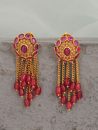 Pink Gold Tone Temple Earrings