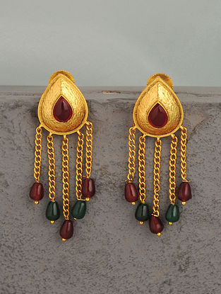 Pink Green Gold Tone Temple Earrings