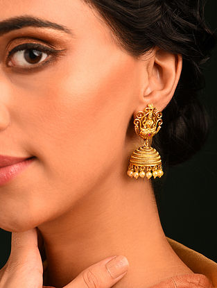 Gold Tone Temple Jhumki Earrings With Pearls