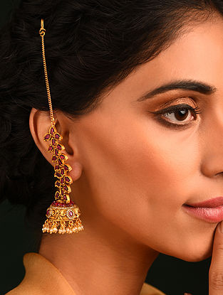 Pink Gold Tone Temple Jhumki Earrings With Ear Chains
