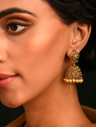 Turquoise Gold Tone Temple Jhumki Earrings With Pearls