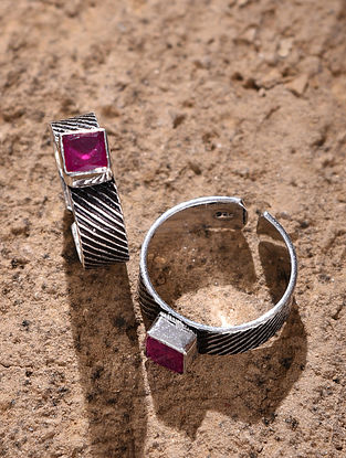 Maroon Silver Toe Rings