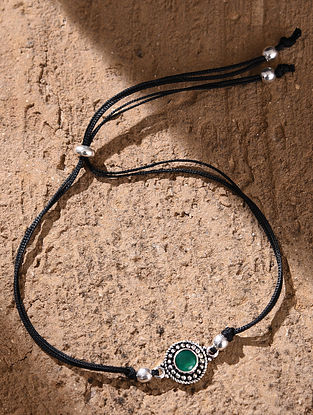 Green Tribal Silver Nazariaya Anklet