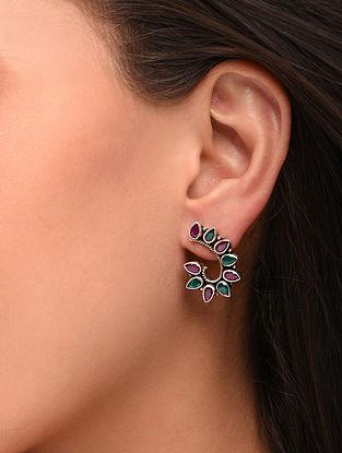 Maroon Green Silver Earrings