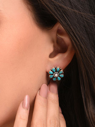 Blue White Silver Earrings with Turquoise White