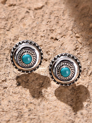 Blue Silver Earrings with Turquoise
