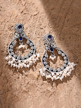 Blue White Tribal Silver Earrings with Pearls