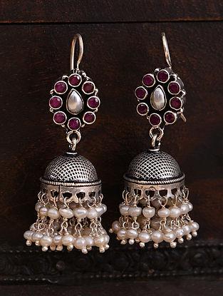 Maroon White Tribal Silver Jhumki Earrings  with Pearls