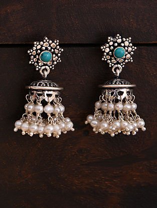 Blue White Tribal Silver Jhumki Earrings with Pearls