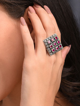 Maroon Silver Adjustable Ring