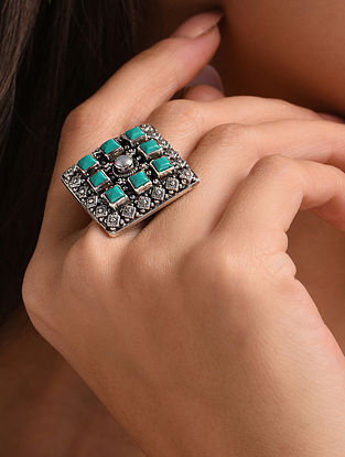 Blue Silver Adjustable Ring with Turquoise