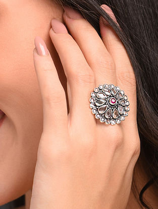 White Maroon Silver Adjustable Ring