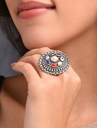 Multicolour Silver Adjustable Ring with Navratan