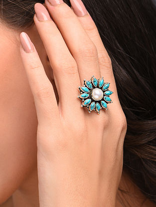 Blue White Silver Adjustable Ring with Turquoise