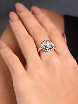 White Silver Adjustable Ring with Pearl