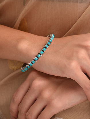 Blue Silver Bangle with Turquoise