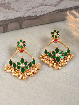 Pink Green Gold Tone Silver Earrings with Kempstone