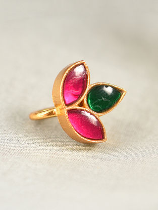 Pink Green Gold Tone Silver Nosepin with Kempstone