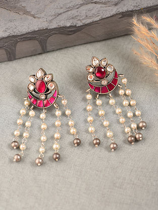 Pink White Silver Earrings with Kundan and Kempstone