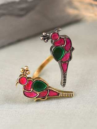 Pink Green Dual Tone Silver Adjustable Ring with Kempstone