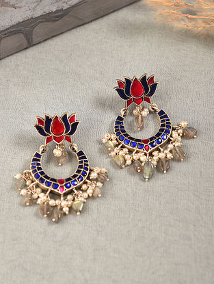 Blue Pink Silver Earrings with Kempstone