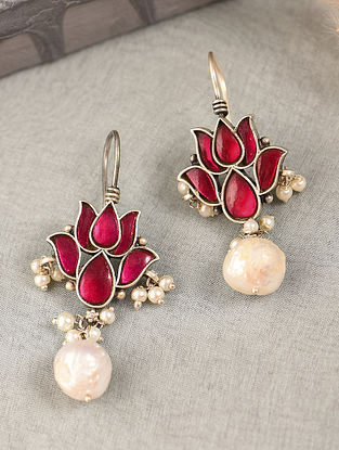 Pink Silver Earrings with Kempstone