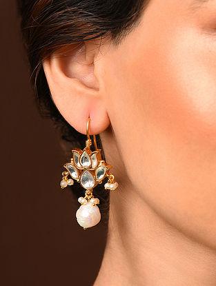 White Silver Earrings with Kundan