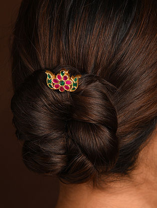 Pink Green Gold Tone Silver Hair Pin with Kempstone