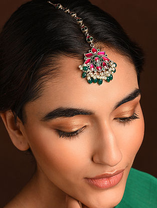 Pink Green Silver Maangtika with with Kempstone