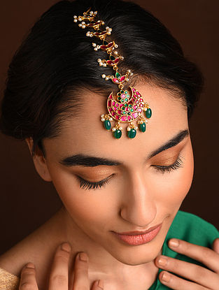 Pink Green Gold Tone Silver Maangtika with with Kempstone