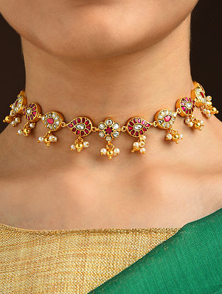 Pink White Gold Tone Silver Necklace with Kundan and Kempstone