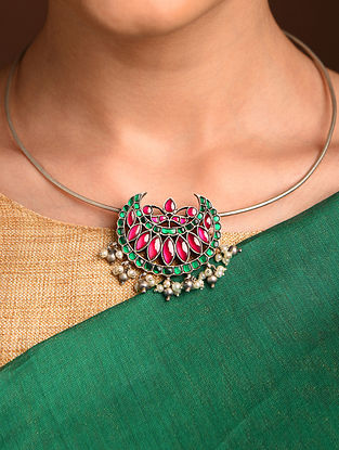 Pink Green Silver Necklace with Kempstone