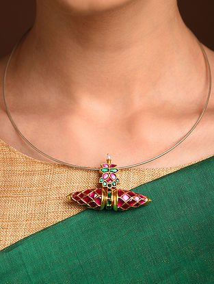 Pink Green Gold Tone Silver Pendant with Kempstone