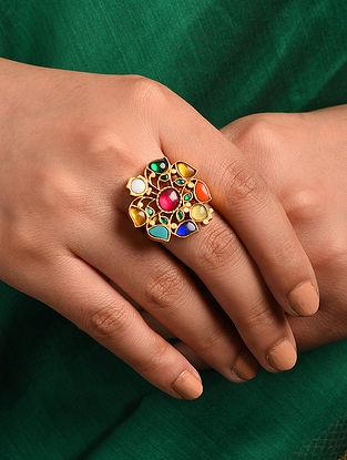 Navratan Gold Tone Silver Adjustable Ring